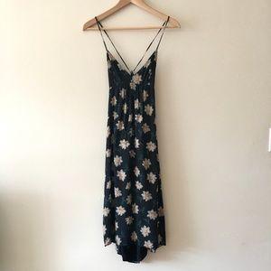 Aritzia Talula Cosimo tie back black floral dress